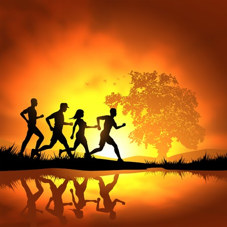 fondo luminoso: Gente que corr�a a campo traviesa. Ilustraci�n del vector.