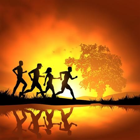 Mensen lopen cross country. Vector illustratie.