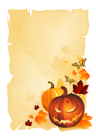 Halloween themed background on a vintage scroll. Vector Vector