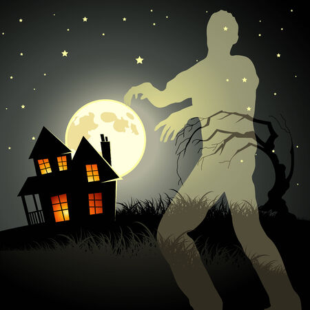 spooky house: Zombie ghost with a house and noom in the background.