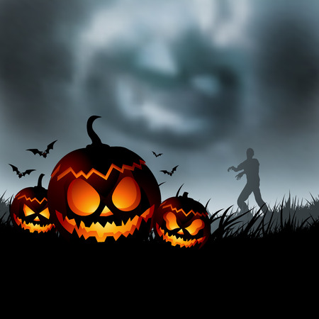 Scary halloween evening vector illustration!