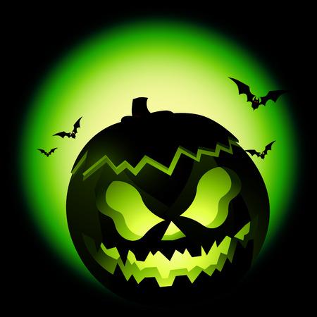 A scary halloween Jack-O-Lantern. Vector illustration.  Illustration