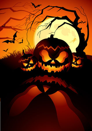 Evil Pumpkins on halloween! Vector illustration. Vector