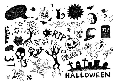A collection of hand-drawn halloween elements! All elements are moveable individual objects. Vector. Vector