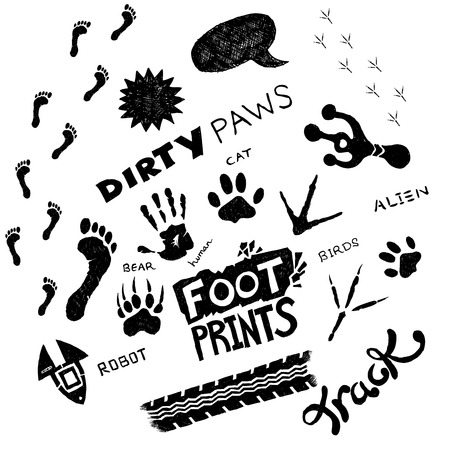 A collection of hand-drawn footprint elements! All elements are moveable individual objects. Vector.