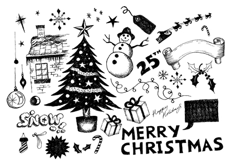 moveable: A collection of hand-drawn christmas elements! All elements are moveable individual objects. Vector. Illustration