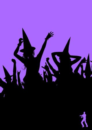 halloween party: Een heksen feest! Menigte van mensen voor halloween gekleed. Zombie-pictogram in de hoek. Vector illustratie.