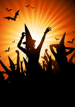 halloween party: A crowd of people in witch outfits. Halloween themed party. Illustration