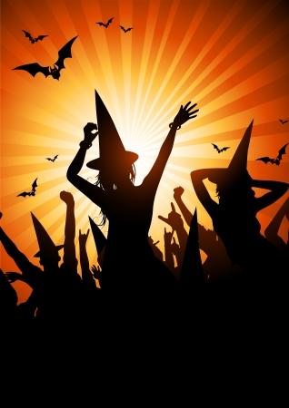 halloween party: Een menigte van mensen in heks outfits. Halloween thema feest. Stock Illustratie