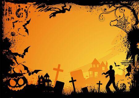 cementerios: Marco de horror de grunge para halloween. Ilustraci�n vectorial.