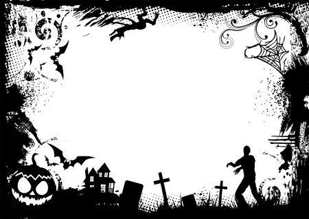 Grunge Horror Frame for halloween. Vector illustration. illustration