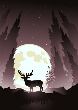 moonlit: A stag silhouetted by the moonlight. Winter vector illustration