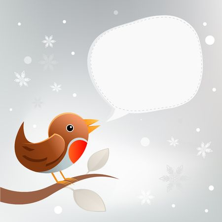A christmas robin bird twittering. Stock Photo