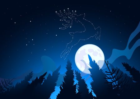 A Clear moonlit winter sky reveals star constellations including a reindeer. Vector illustration illustration