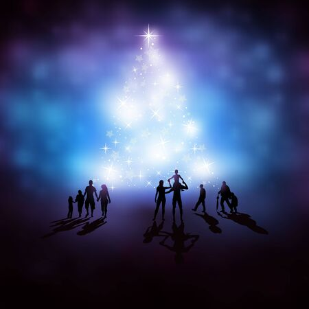 pink christmas: People watching a glowing christmas tree. vector illustration