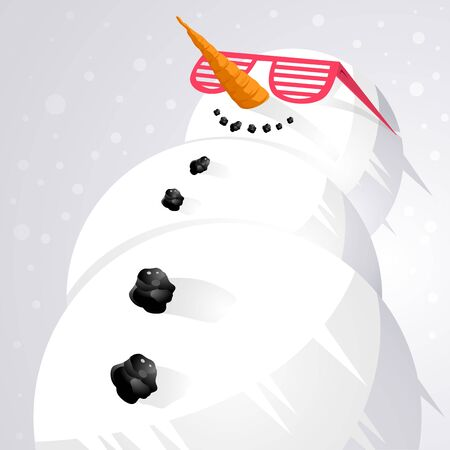 chilling: Cool as cool can be...A snowman chilling out. vector. Stock Photo