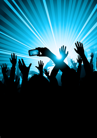 taking picture: A group of people at a concert with a member of the audience taking a picture. Illustration