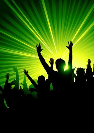 rave party: Todos en el club bailable! Efecto de luz estrobosc�pica. Vectores