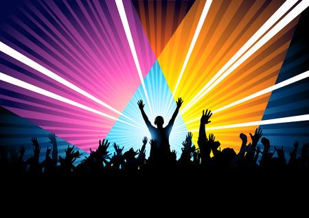 fiesta dj: Una multitud de baile enorme con un DJ de responder a la multitud. Vectores