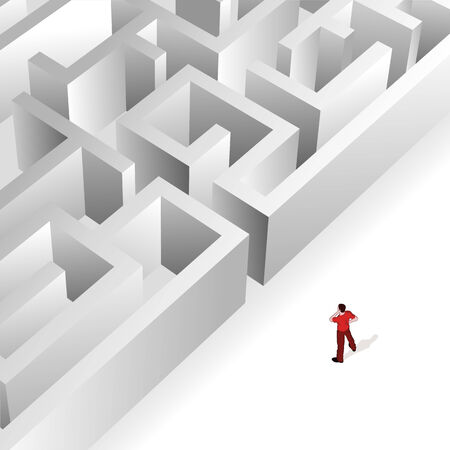 Crowd Source - Thinking Maze. A man contemplates the maze in front of him. Ilustração