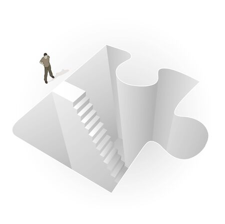 Crowd Source - Into The Puzzle. A man stands before stairs leading into a puzzle piece. Stock Photo - 6551579