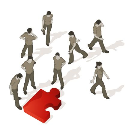 Crowd Source - Puzzled. A puzzle piece out of place causes confusion. Stock Photo - 6551545