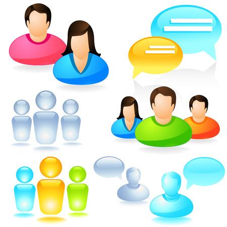 amigos hablando: Una colección de vectores de icono de medios de comunicación social.