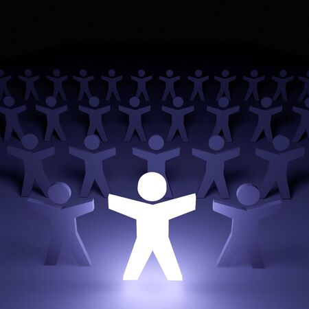 A single person glowing in the crowd. Stock Photo - 6770510