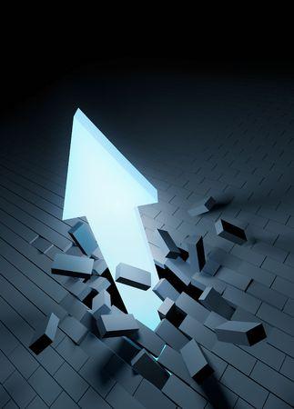 breakthrough: An arrow breaking through a brick floor. Stock Photo