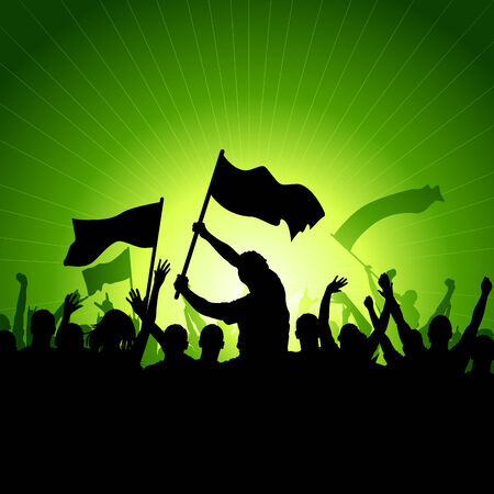 A crowd of people with flags and banners. Vector