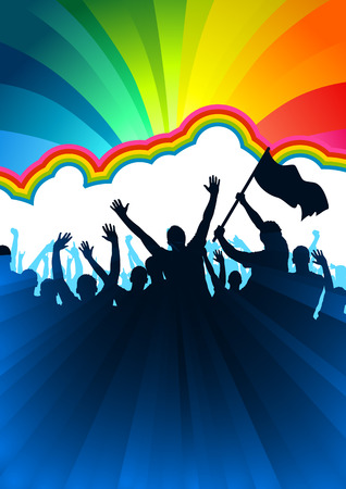 rainbow flag: A crowd of people with flags and banners.