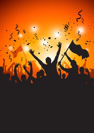 gente saludando: Una multitud feliz en un concierto o estadio.  Vectores