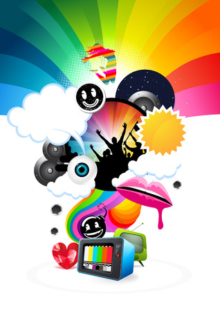 Fresh elements swirling up from a Television set. Stock Vector - 7113324