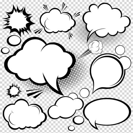 bubble icon: A collection of comic style speech bubbles. illustration. Illustration