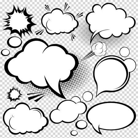 burbuja: Una colección de burbujas de discurso de estilo cómico. ilustración. Vectores