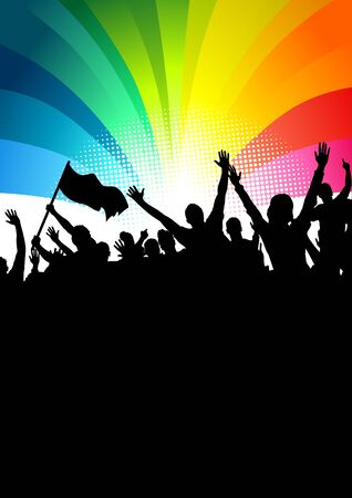 rainbow flag: Happy crowd of people at a festival.