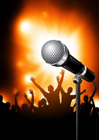 karaoke singer: A microphone on stage with an audience of fans in the background.