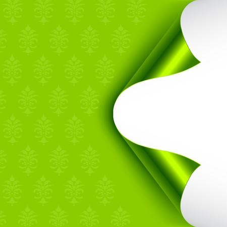 curled edges: Green sventato sostenuta arricciati angoli.