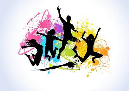 springende mensen: Mensen springen ingesteld tegen lak spuit bus kleur elementen.