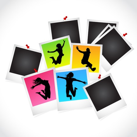 A collection of photo frame slides with happy people. Vector
