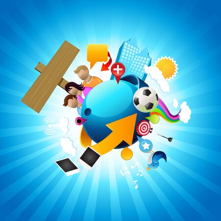 Your world.Conceptual world with people, buildings, icons, symbols and signs. Build your own world! Stock Vector - 7241700
