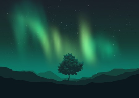 borealis: Northern Lights glowing over a mountain range and tree. Vector illustration with grouped objects.