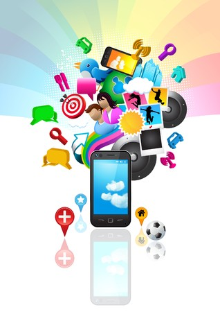 Mobile phone with lots of elements including people, icons and symbols. All items are individually grouped. Vector