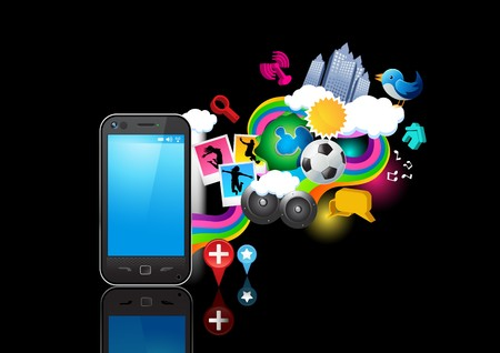 Elementos que fluye desde un teléfono móvil. Ilustración vectorial. Se agrupan los elementos individuales.