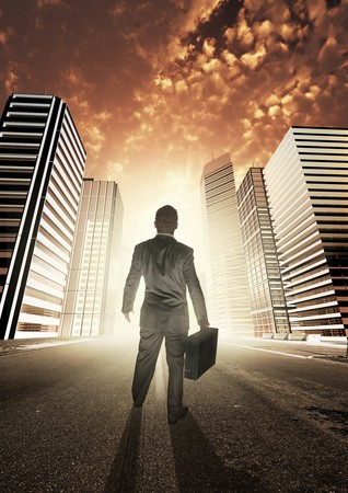 A businessman heading into a new city, exploring new opportunities. Stock Photo - 7508937