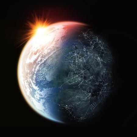 atmosfere: Il sole che tramonta sul pianeta terra.