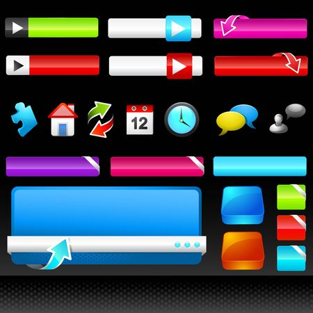 A collection of colourful web design icons, boxes and buttons.