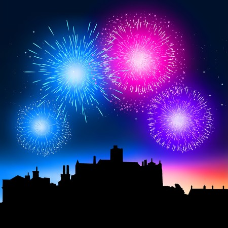 feu d artifice: Fireworks coming to life over a city at night. Illustration