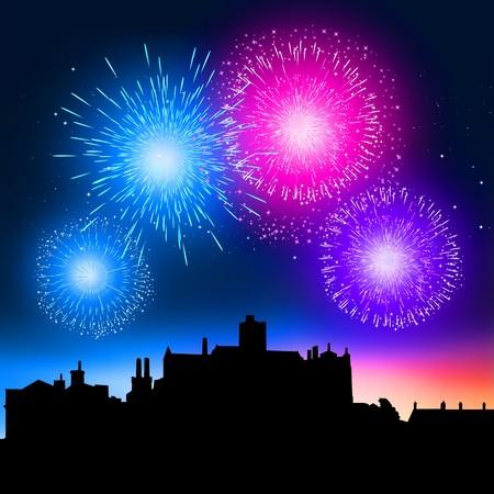 fuegos artificiales: Fuegos artificiales cobrando vida sobre una ciudad en la noche.