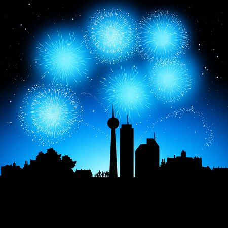 Fireworks coming to life over a city at night. Stock Vector - 7883429